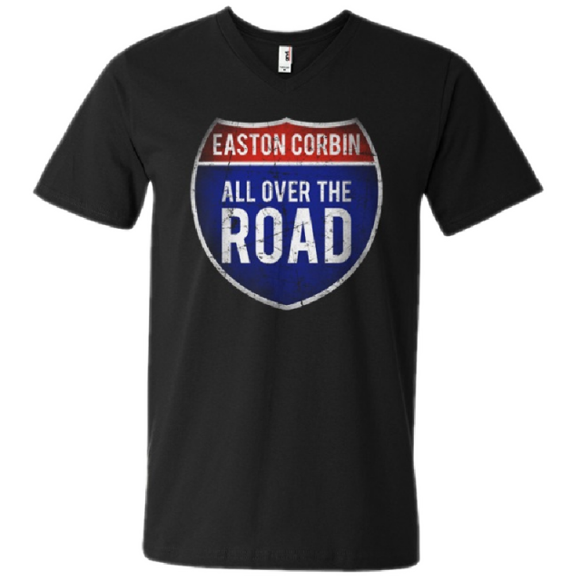 Easton Corbin All Over The Road Black V-Neck